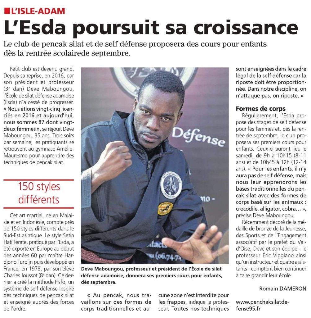 Article sur l'ESDA dans La Gazette du Val d'Oise - 31/07/19